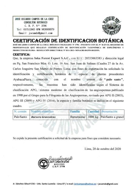 Certificado biológico